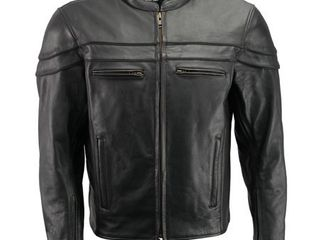 Menas Premium leather Crossover Vented Scooter Jacket with Removable CE Armor and Concealed Gun Pockets BZ2525 Black  Marked as 4Xl but Fits as 2 3Xl