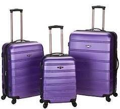 luggage Set 3 Piece Suitcase Travel Purple Blue Upright Medium lightweight Hardside