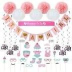 Baby Shower Decorations 40 Pcs Kit For Girl Assembled Banner Party Photo Booth
