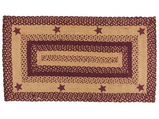 Braided Rug Wine Tan Stars Jute Country Primitive IHF  4x6