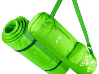 Yoga Mat With Carrying Strap   Matching Bag   Green For Yoga  Pilates   Fitness