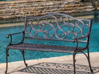 McKinley Cast Outdoor Bench by Christopher Knight Home  Retail 298 99