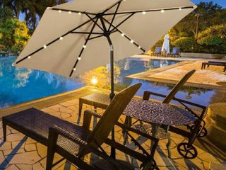9  Outdoor Patio Umbrella Offset Shade Canopy with lED light  Retail 148 49