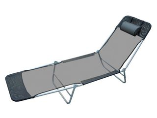 Outsunny Outdoor Folding Chaise lounge Sun Recliner Beach Patio lightweight Chair with Sturdy Durable Frame  Black