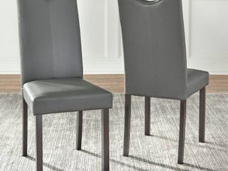 Simple living Tilo Grey Faux leather set of 2 chairs