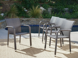 Dover Outdoor Wicker Armed Stacking Chairs with Aluminum Frame  Set of 4