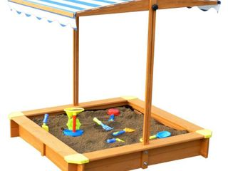 Sandbox With Canopy by Merry Products, Natural and Blue
