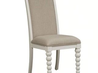 Cottage Harbor White and linen Upholstered Dining Chair  Retail  315 99