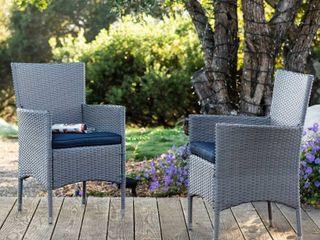 Corvus Melfi Outdoor Grey Wicker Dining Chairs  Set of 2