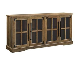 58  Farmhouse 4 Door TV Console with Rustic Handle and Metal Accent  Barnwood