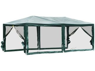 Outsunny 10  x 20  Gazebo Canopy Tent with 4 Removable Mesh Side Walls for Events  Farmer s Markets   amp  Weddings  Green