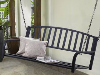 Outsunny Black 2 person Outdoor Porch Swing Bench