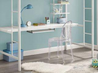 Taylor  amp  Olive Abner White Metal Full loft Desk White  Workstation Only