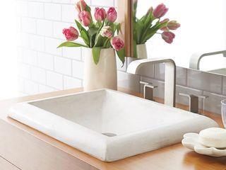 Native Trails NSl2216 P Montecito 21 1 2 Inch Hancrafted NativeStone Drop In Concrete Bathroom Sink  Pearl