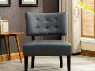 Roundhill Bally Blended Grey leather Tufted Accent Chair with Oversized Seating