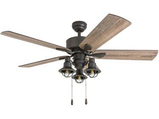 Prominence Home 50757 35 Sivan Farmhouse 52 Inch Aged Bronze Indoor Ceiling Fan  lantern lED Multi Arm Barnwood Tumbleweed Blades and 3 speed remote
