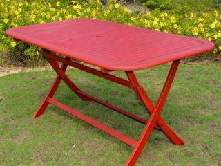 International Caravan Royal Fiji Rectangular Folding Patio Table Barn Red