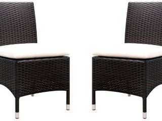 Furniture of America Sel Contemporary Wicker Patio Chairs  Set of 2  White Cushion