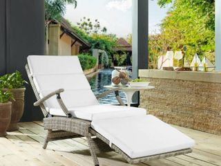 Envisage Chaise Outdoor Patio Wicker Rattan lounge Chair in light Gray White  Retail  519 38 each