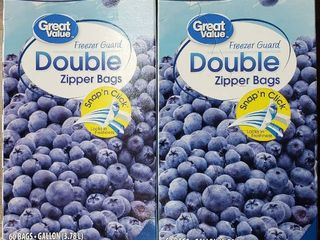 Great Value Fresh Seal Double Zipper Freezer Bags, Gallon, 120