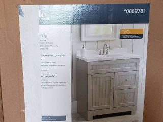 Style Selections Ellenbee Gray Single Sink Vanity with White Cultured Marble