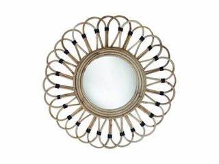 Foreside Home   Garden 19 inch Diameter Round Wrapped Rattan Wall Mirror   19x19x1  Retail 75 48