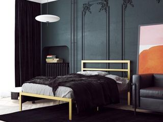Signature Sleep Premium Modern Platform only Industrial Style  Sturdy Metal Frame with Slats  Queen   Gold