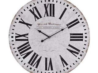 Sterling Aged White Wall Clock   24 w x 2 d x 24 h