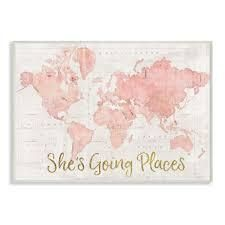Stupell Industries She s Going Places Quote Pink Watercolor World Map Framed Wall Art