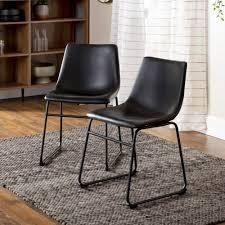 Carbon loft Prusiner Faux leather Dining Chair  Set of 2  Retail 170 99 black