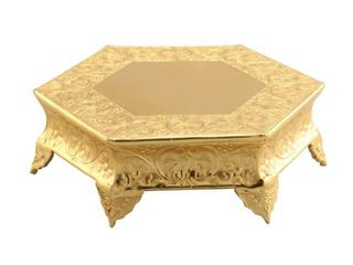 Hexagonal Metal Wedding Cake Stand  16 inches  Gold