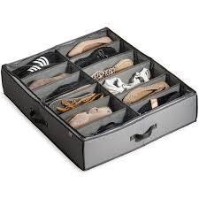 Rigid Underbed Shoe Organizer with Adjustable Dividers  12 Slots Pairs  Underbed Storage  Underbed Shoe Storage Organizer