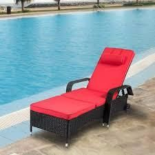 Kinbor Patio Chaise lounge  Outdor Reclining lounge Chair for Beach Pool Porch  Wicker Rattan Chaise w  Wheels  Retail 205 99 red