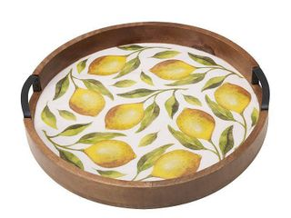 Gourmet Basics by Mikasa lemons 16  Wood lazy Susan