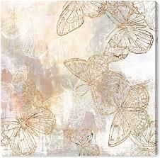 Wynwood Studio  Butterfly Garden  Animals Wall Art Canvas Print Insects   Gold  White