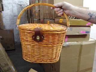 l brown weaved basket