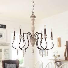 Farmhouse Rustic Wooden Candle Chandelier with Drops   32 inches  Retail 281 99
