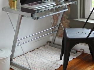 Metal and Glass Silver Computer Desk with Keyboard Tray  Retail 101 99