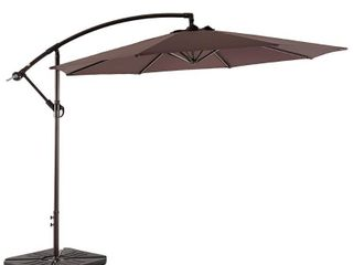 Weller 10ft Offset Canopy Umbrella with 4 PC Umbrella Base Weights  Retail 257 99