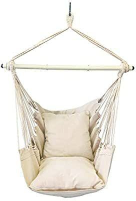 Highwild Hanging Rope Hammock Chair Swing Seat for Any Indoor or Outdoor Spaces   500 lbs Weight Capacity   2 Seat Cushions Included  Beige
