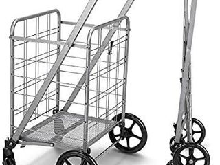 Newly Released Grocery Utility Flat Folding Shopping Cart with 360A Rolling Swivel Wheels Heavy Duty   light Weight Extra large Utility Cart   MISSING HARDWARE