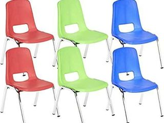 AmazonBasics 16 Inch School Classroom Stack Chair  Chrome legs  6 Assorted Color  6 Pack