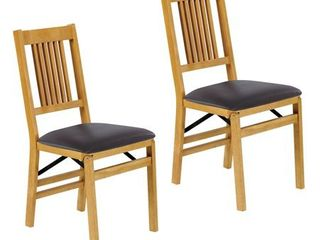 Stakmore True mission Folding Chair  Set of 2  Oak with Black Vinyl