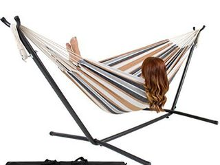 Best Choice Products 2 Person Indoor Outdoor Brazilian Style Cotton Double Hammock Bed w Carrying Bag  Steel Stand  Desert Stripes