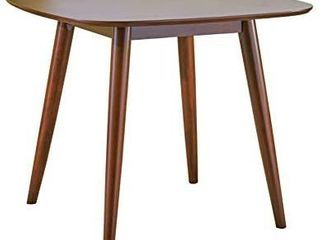Christopher Knight Home Bass Mid Century Modern Square Faux Wood Dining Table  Walnut Finish   MIGHT BE MISSING HARDWARE