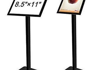 Voilamart Pedestal Poster Stand 8 5  x 11  Pedestal Sign Holder Aluminum Snap Open Frame Display Floor Stand Replaceable Advertisement Rack Menu Stand with Heavy Duty Square Steel Base  Black