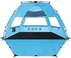 KOON Beach Tent Sun Shelter Pop Up Xl   Easy Setup Beach Shade for 3 4 Person with UPF 50  Protection  Extended Floor   3 Ventilation WindowsIaACarrying Bag  Ocean Blue   Ocean Blue   Ocean Blue