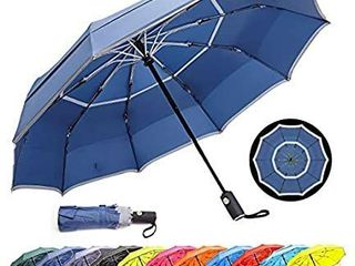 HOSA Auto Open Close Compact Portable lightweight Travel   Night Safety Reflective Strip   Windproof Waterproof UV Protection Umbrella   for Raining Sunny Days Night Time Use  Dark Blue 42 inch