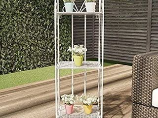 Pure Garden 50 lG1163 Plant Stand a 3 Tier Vertical Shelf Indoor or Outdoor Folding Wrought Iron Home Garden Display with laser Cut Shelves  Antique White