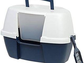 IRIS USA Jumbo Hooded Cat litter Box with litter Scoop  Gray ClH 17J 588430